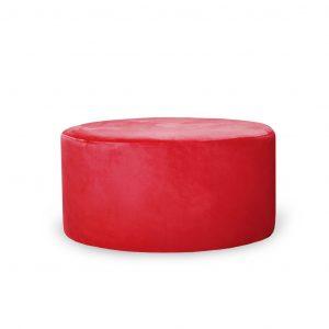 Pufa tapicerowana okrągła fi80 czerwona