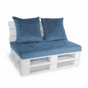 Sofa paletowa 2 os. niebieska